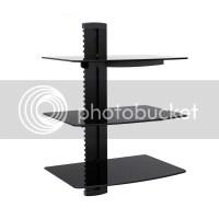 3-tier Adjustable Component Wall Mount Shelf Glass ...
