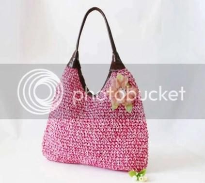 Túi dệt gắn hoa 1