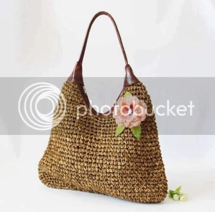 Túi dệt gắn hoa 2