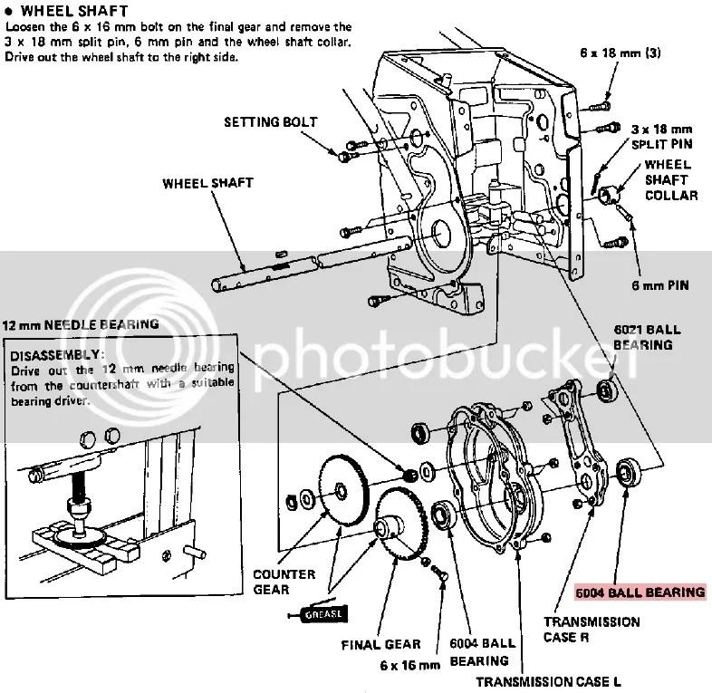Snow blower Honda HS80 WA Wheel drive axle bearing