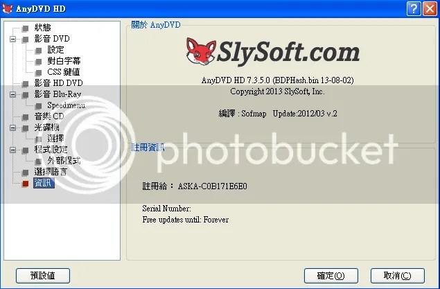 AnyDVD & AnyDVD HD 7.3.5.0 Final (DVD解碼工具) 安裝版   海闊天空
