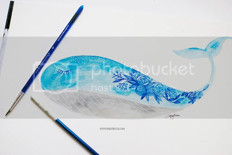 Watercolor floral whale illustration tutorial - Zakkiya Hamza | Inkstruck Studio