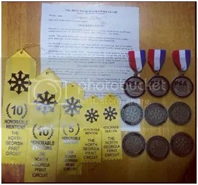 Badges and medals won by Ahmed Humaidan for his photojournalism