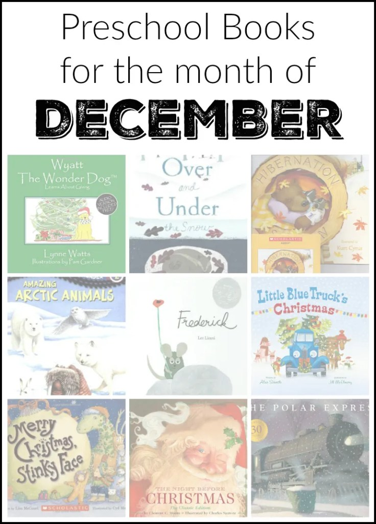 Educational and fun preschool books for the month of December
