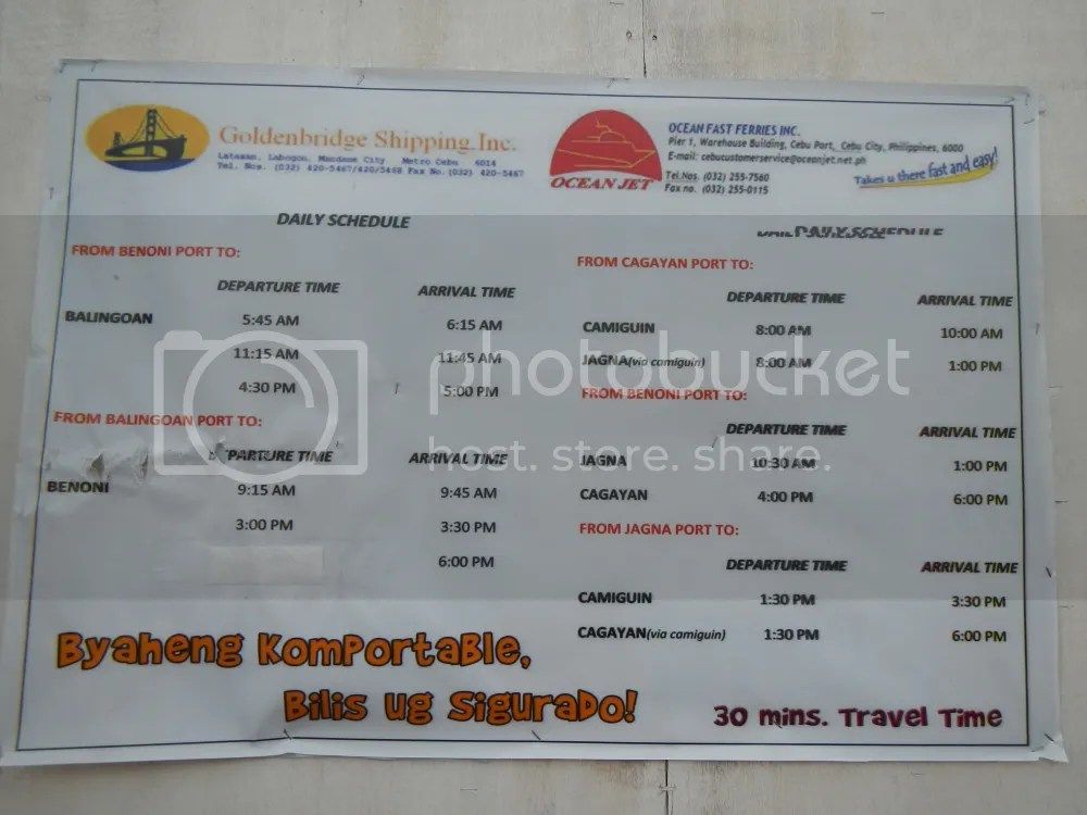 Camiguin Ferry Schedule