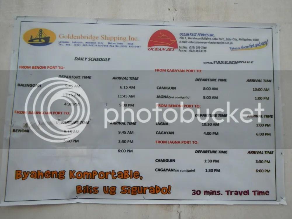Camiguin Ferry Schedule