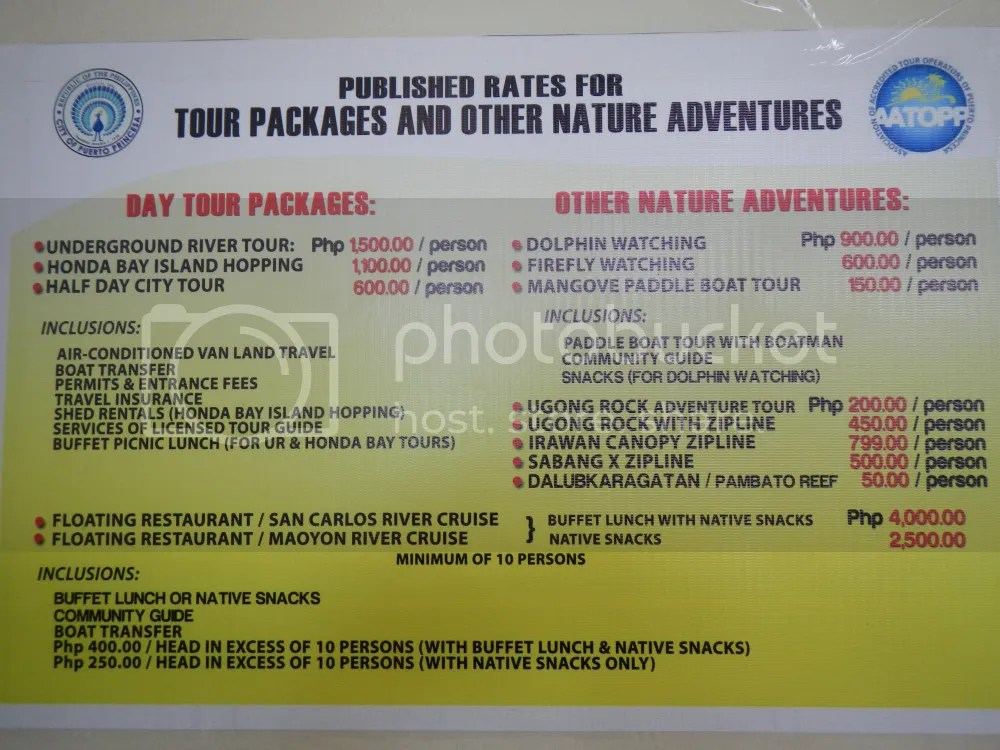 Puerto Princesa Tourist Destination Rates