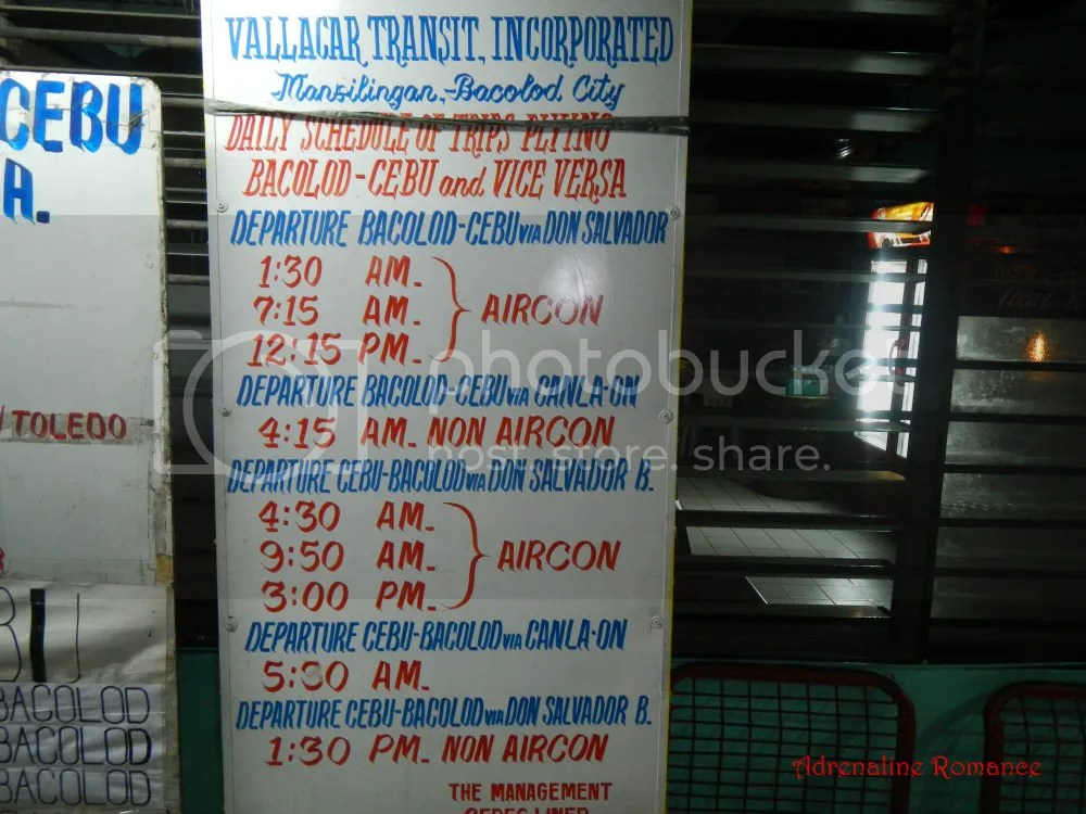 Cebu to Bacolod and Vice Versa Bus Rates