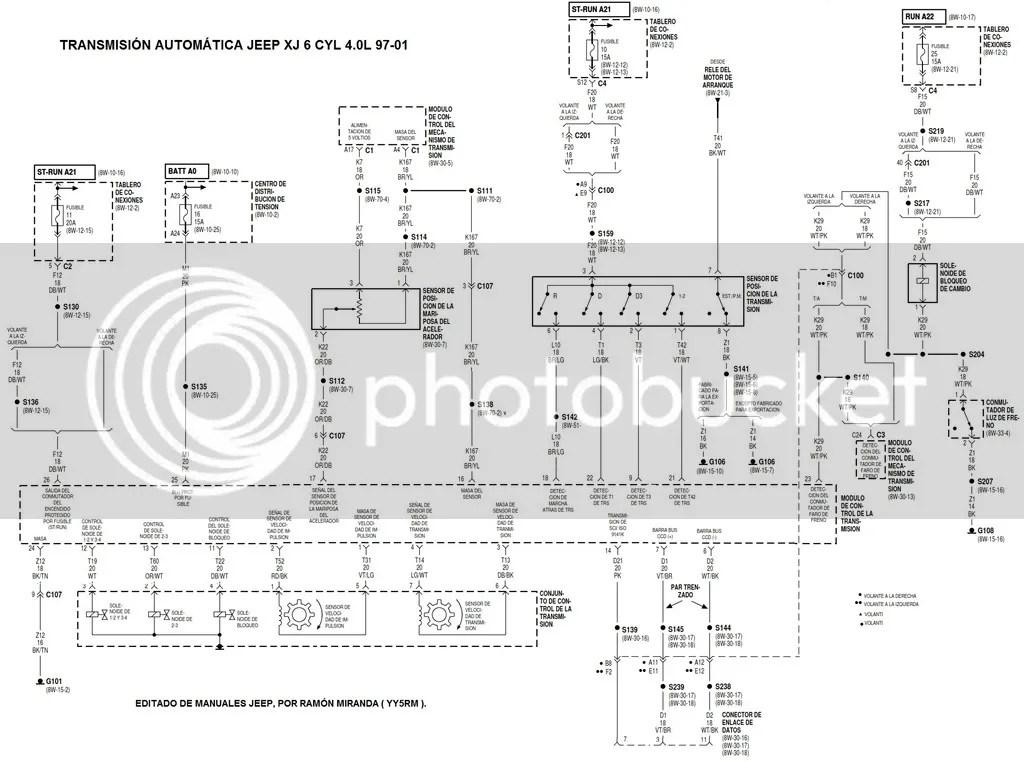 Diagrama eléctrico de caja automática A340 de 2 sensores