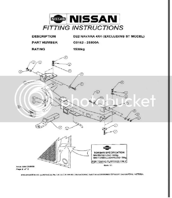 Genuine Nissan Navara D22 S C DX NEW Towbar 4x2 1500kg 4x4