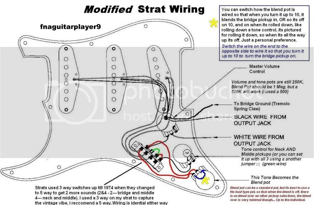 Custom Strat Wiring To Get 7 Sounds With A 5 Way Or 5 Sounds With 3 Way Photo by