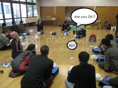 CPR training--the first step is to try to wake up the patient.