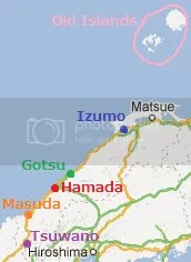 Shimane map: Oki, Matsue, Izumo, Gotsu, Hamada, Masuda, Tsuwano