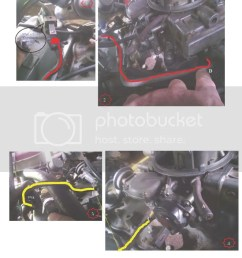 the metal line d in pic 2 runs from the front of the carb back to some valve in pic 1 that seems to be some type of movable switch  [ 791 x 1024 Pixel ]