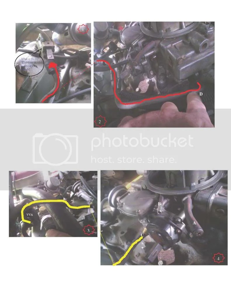 hight resolution of the metal line d in pic 2 runs from the front of the carb back to some valve in pic 1 that seems to be some type of movable switch