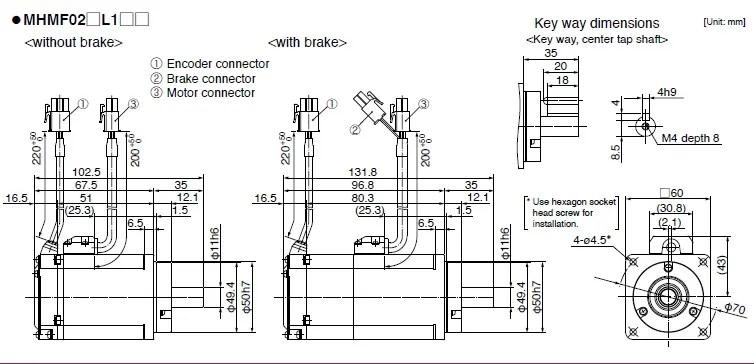 MHMF022L1U2M+MADLN15SE AC Servo motor drive kits 60mm 200w