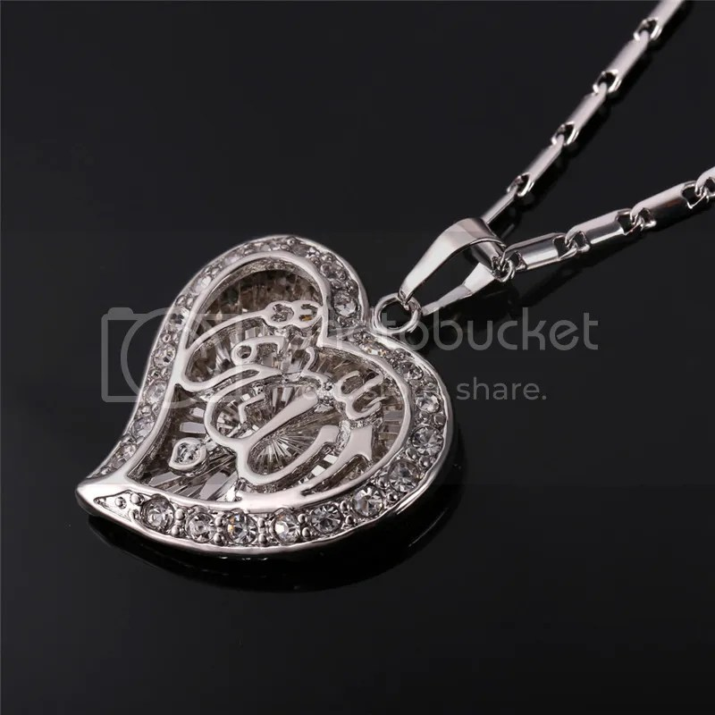 Romantic Heart Allah Pendant Necklace 18K GoldPlatinum Plated Islamic Jewelry  eBay