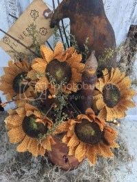Primitive Sunflowers & Crow In Grungy Flower Pot Lamp ...