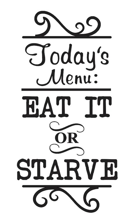 Kitchen STENCIL**Today's Menu Eat it or Starve**for Signs