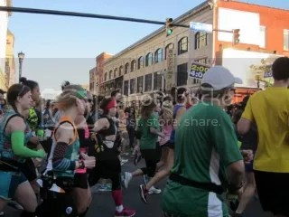 Kat (green arm warmers), me, and Janelle (pink shirt) heading out at the start of the Buffalo Marathon - Buffalo, New York