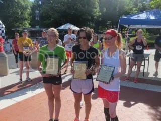 Kendall Hays (first female overall), Jennifer Watson (second female overall), and Me (third female overall)