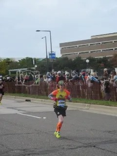 Me heading for the Finish Line of the Medtronic Twin Cities Marathon, Minneapolis/St. Paul, Minnesota