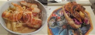 Sophie's Kitchen Vegan Prawns (cooked 2 ways) - Left: Vegan Cajun Shrimp Alfredo (baked); Right: Vegan Shrimp Po'Boys (pan fried)