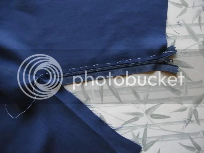 Baste zipper tape at RF