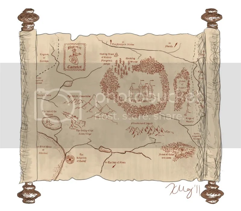 A Map of Camelot that Arthur looks at