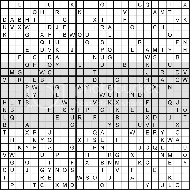 a 2525 monster sudoku grid using letters courtesy of colinjcouk