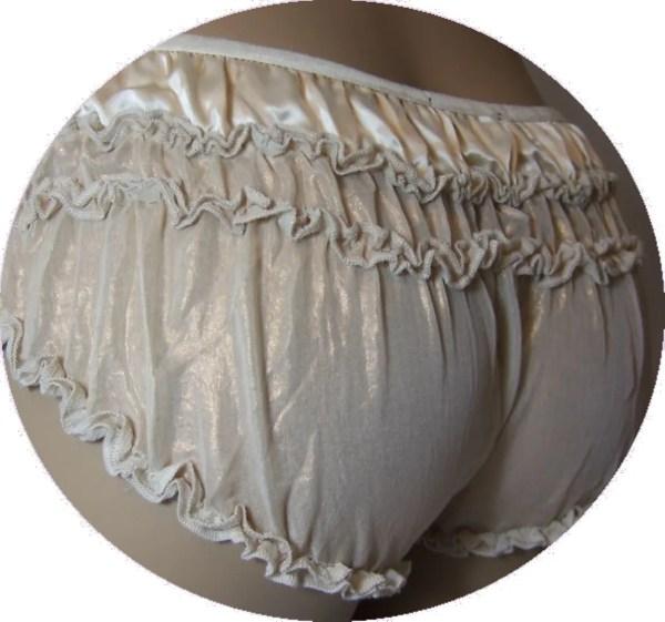 Cute Cream Satin Sheer Glistening Chiffon Ruffle Panties