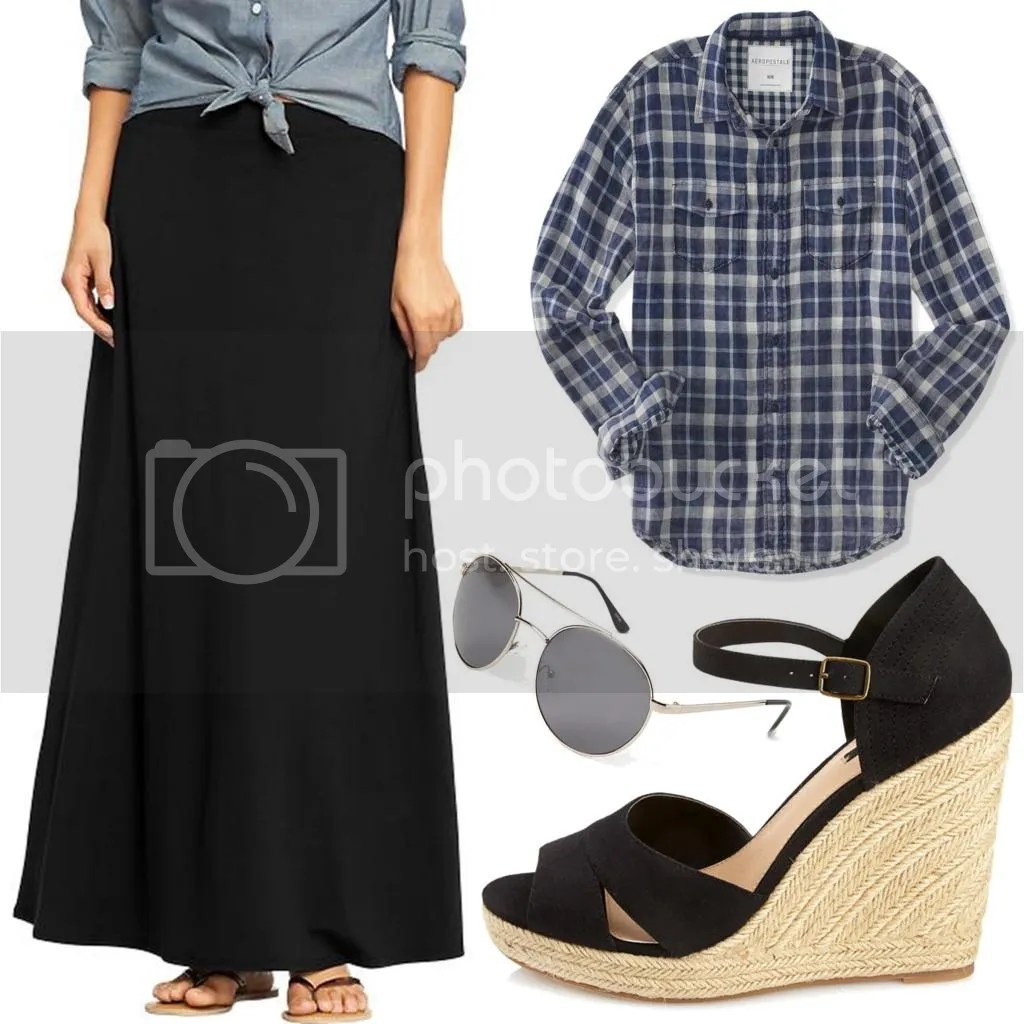 flannel and maxi skirt