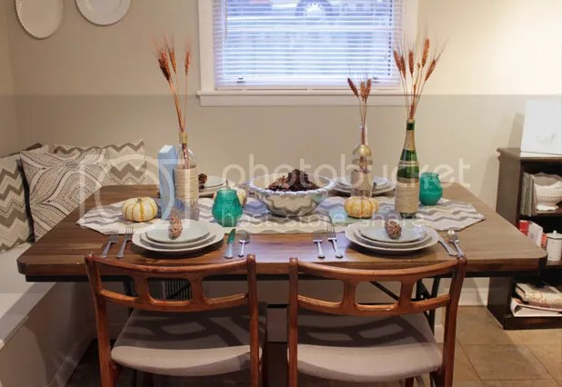 Thanksgiving Tablescape - Blues & Greens & Grays