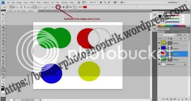 Belajar Photoshop Shapes Menggunakan Add,Substract,Intersect dan Exclude