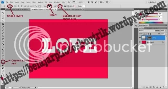 Belajar Photoshop Mengkombinasikan Text dengan Shape