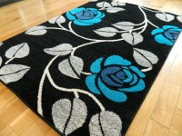 Large Black Teal Grey Silver Blue Mat Modern Rug 160 x 230