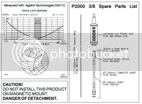 Sirio Performer 2000 3/8 10m & CB 5000W Trucker Antenna
