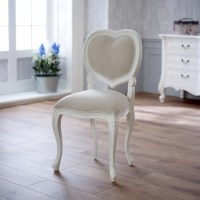 French Chateau White Painted Carved Heart Chair -Dressing ...
