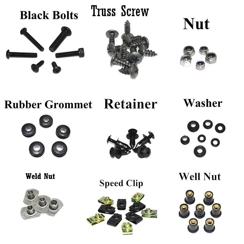 NT Complete Black Fairing Bolt Kit Body Screw for HONDA