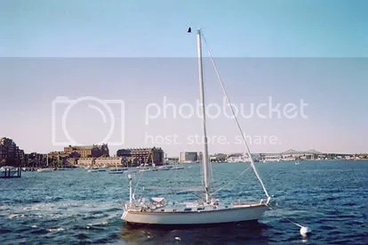 Sailboat anchored in Boston Harbor