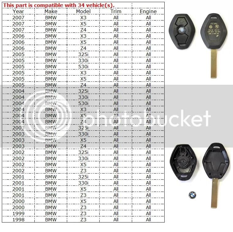3 Buttoms Remote Key Case for BMW Z3 Z4 X3 X5 E36 325i 3 5
