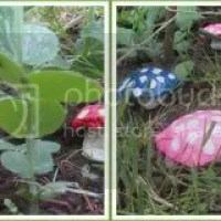 Whimsical Garden Statues and Toadstools