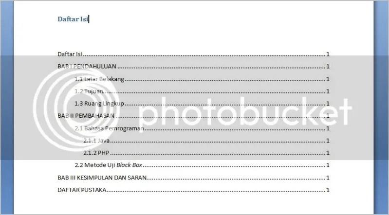 TOC / Daftar Isi