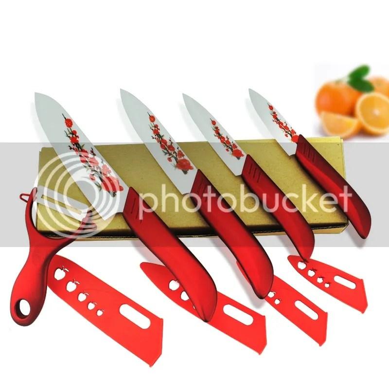 red kitchen knife set kohler barossa faucet flower ceramic knives 3 4 5 6 peeler details about free shipping