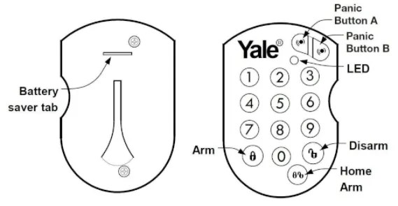 Yale Alarms Remote Key Pad HSA6080 Replacement CR 2032 3v
