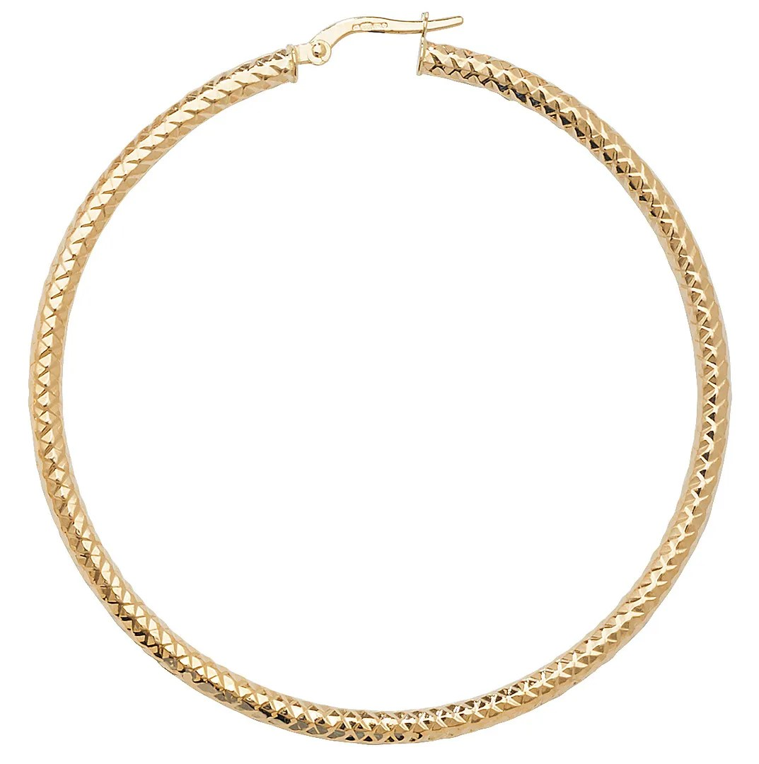 9ct Gold Diamond Cut Hoop Earrings 50mm