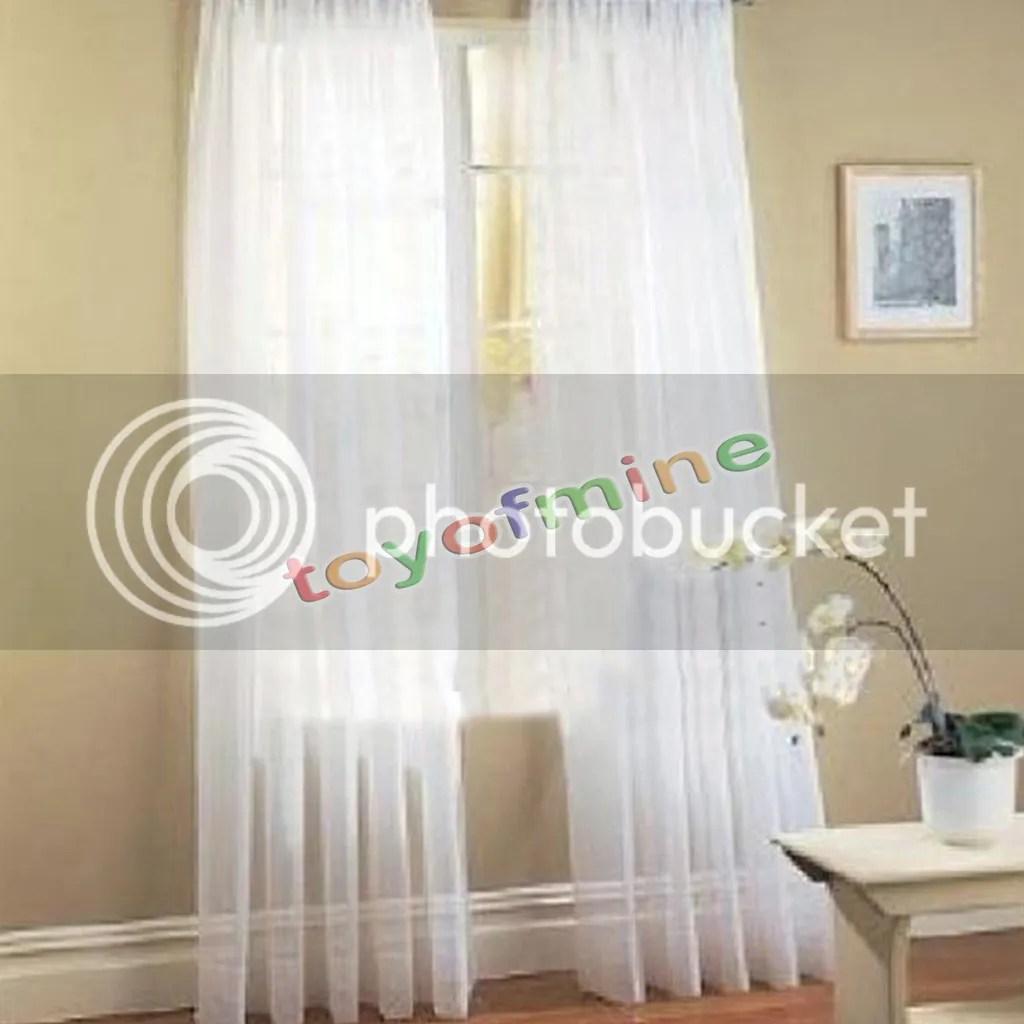 2 X Valances Tulle Voile Door Window Curtain Dpanel