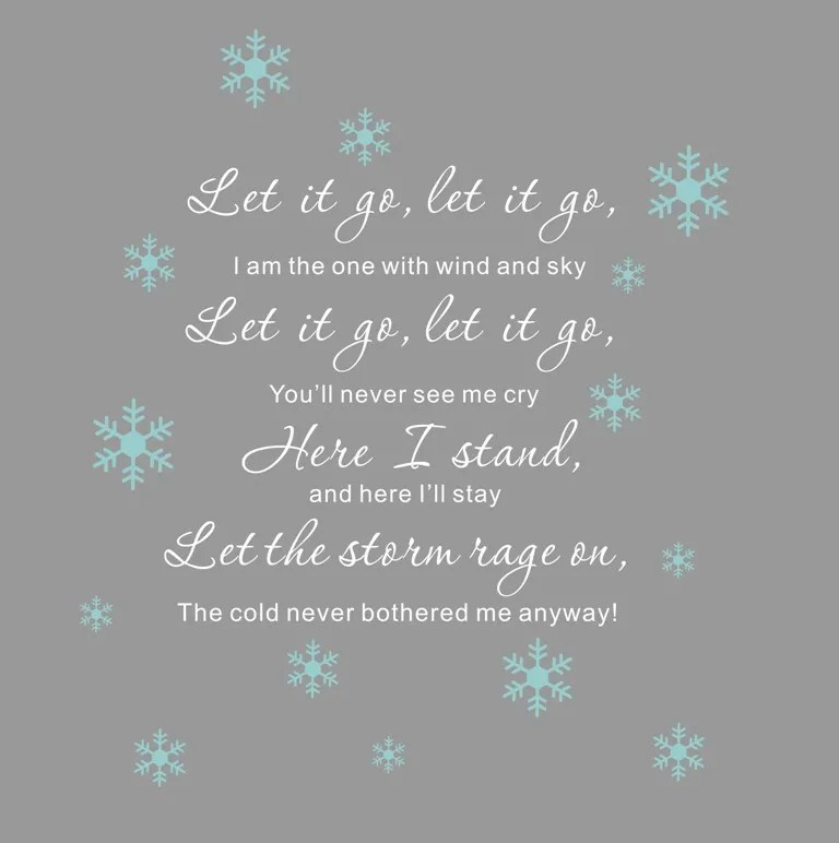 Let it go lyrics Disney Frozen Elsa snowflake Wall Decals