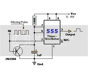 555 timer as a missing pulse detector