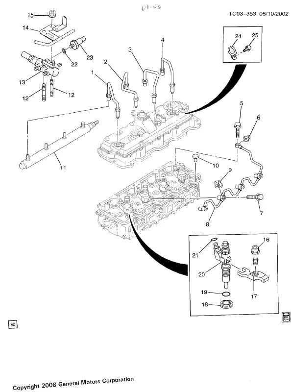 duramax fuel rail pressure relief valve on chevy 2500